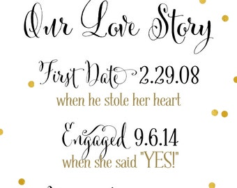 Love Story Sign | DIY PRINTABLE | Love Story Timeline | Custom Design | Quick Turnaround DIY Print