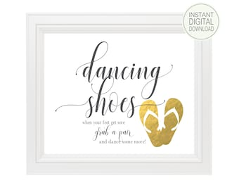 Dancing Shoes Sign | Wedding Signs | DIY PRINTABLE | Instant Download