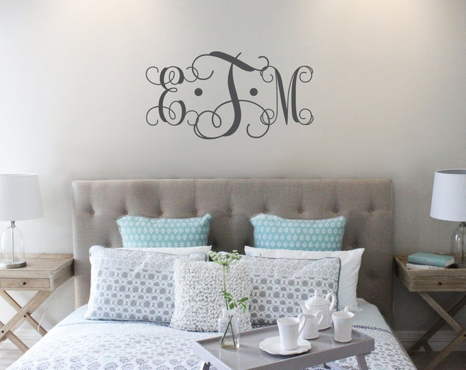 Featured listing image: Vine Monogram Decal | King Size Bed Decal | Master Bedroom Wall Decal | Wedding Monogram | Wedding Gift