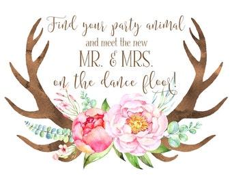 Boho Chic Wedding Sign | PRINTABLE | Instant Download