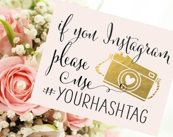 if you Instagram Wedding Sign | Personalized Wedding Hashtag PRINTABLE | Quick Turnaround DIY Print