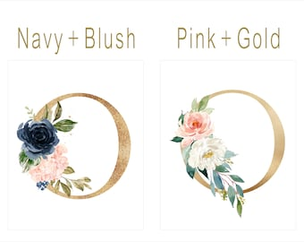 Watercolor Floral Monogram Art Print | Pink & Gold Floral Letter | Nursery Wall Decor | Navy and Blush Monogram Intial