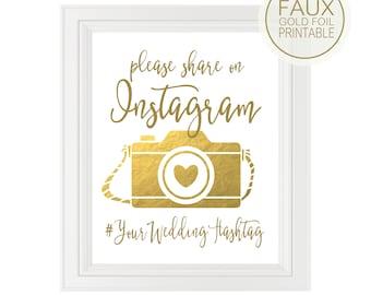 Wedding Instagram Sign   Personalized Wedding Hashtag PRINTABLE   Quick Turnaround DIY Printable