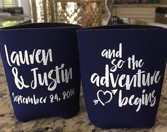 Custom Can Coolers | and so the adventure begins | Wedding Can Coolers | FREE Standard Shipping