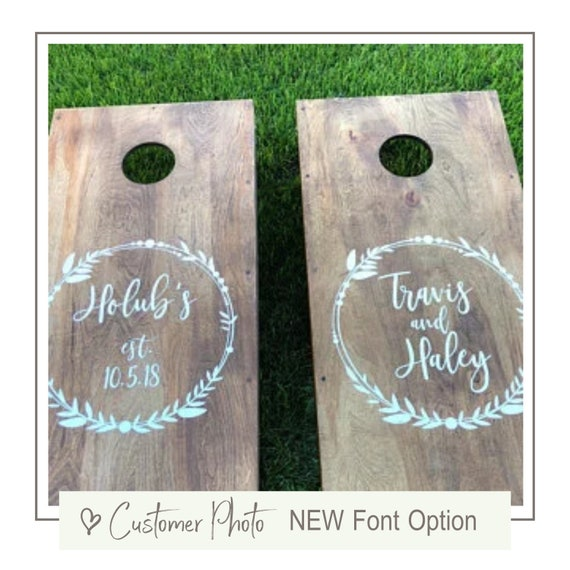 WEDDING RUSTIC INITIAL w// Personalized Text CORNHOLE BOARD WRAP Bride Groom GIFT