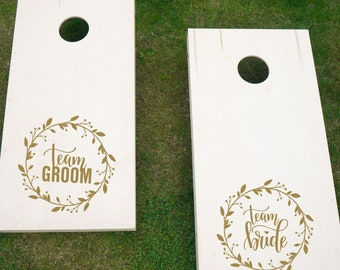 Team Bride Team Groom Cornhole Game Decal Set | DIY Wedding Decor | Wedding Gifts for Couple