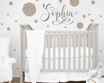 Name Wall Decal | Personalized Name Decor | Flower Sticker | Girls Nursery Wall Decal