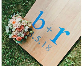 Cornhole Game Boards Bride & Groom Initials with Heart and Hole Borders Vinyl Decal Set of Two | Add a Wedding Date Option