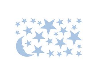 Moon & Stars Wall Decal Package for Nursery | Boys Room
