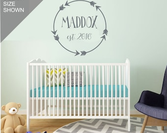 Boy Nursery Wall Decal | Personalized Boy Nursery Decor | Aztec Baby Decor