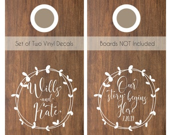 Our Story Begins Here | Cornhole Wedding Decals | Best Day Ever Wedding Decal Set for Corn Hole