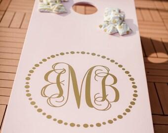 Wedding Corn Hole Board Decal Personalilzed Monogram | Wedding Monogram Stickers for Cornhole | Wedding Cornhole Decals | Southern Wedding