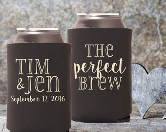 Wedding Can Coolers | Let Love Brew | The Perfect Brew | Personalized Wedding Favors | Halloween Wedding | Fall Wedding Favors
