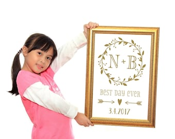 Best Day Ever Sign Personalized Decal | Wedding Decal | DIY Wedding Gift | Personalized Wedding Gifts for Couples