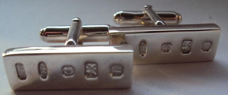 Hallmarked Solid Sterling Silver Ingot Cuff Links