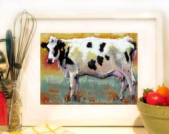 Cow Art, Cow Painting, Cow Print From Original Oil Painting, Milk Cow Girl Art, Giclee Print 5 x 7   by Jemmas Gems