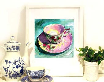 Rose Tea Cup Painting,Tea Cup Art Print, Tea Cup Art, 8 x 8 from Jemma's-Gems