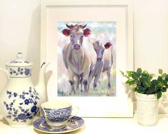 Cow Painting, Cow Art Print, Nursery Art, Mama & Calf- Cow Wall Art -Cow Wall Decor - Fun Cow Print 8 x 10 by Jemmas Gems