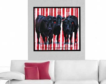 Cow Painting, Cow Print, 4th July Print, Red White & Blue and Black Print, Cow Wall Decor, Cow Wall ART, by Jemmas Gems 8 x 8