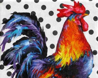 Rooster Painting,Chicken Art Print, Rooster Art Print, Giclee 10 x 8  from Jemma's Gems Original Painting