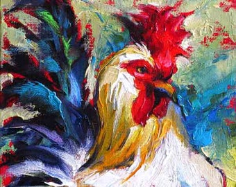 Rooster Wall Art,Rooster Painting, Rooster Print, Colorful Chicken Art, Chicken Print from Original Painting, 10 x 8 by Jemmas Gems