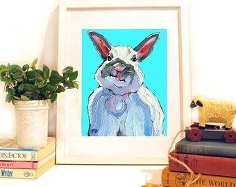 Bunny Rabbit Print, Rabbit Painting, White Rabbit Art with Attitude, Nursery Art 10 x 8 by Jemmas Gems