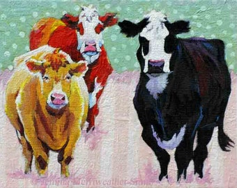 Cow Painting, Cow Print, Cow Art, Cowgirls Pastel Polka Dots & Stripes, Art Print 8 x 10 by Jemmas Gems