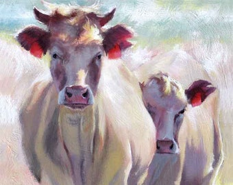 "Cow Art Print, Large Cow Print, from Cow painting, Cow Wall Decor, 24 x 36"" by Jemmas Gems"