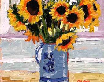 Sunflower Painting, Sunflowers Art Print, Garden Painting, Sunflowers Giclee Print  8 x 8 by Jemmas Gems