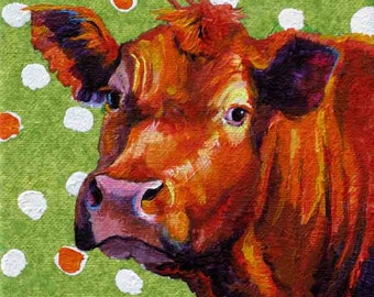 Cow Painting,Cow Print, Pretty Cow Art Print, Cow Girl and Polka Dots,  Print of Red Cow Painting,  Art Print 8 x 8 by Jemmas Gems