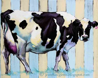 Cow Painting, Cow Print, Cow Art,  Cow Giclee Print, 11 x 14 or 12 x 16 Shabby Chic Stripes by JemmasGems