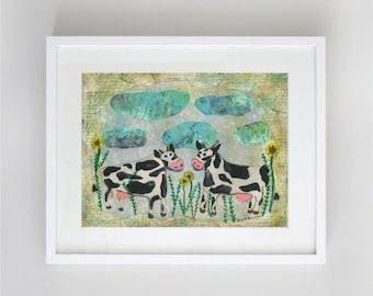 Two Cows Matted 5 X 7 Childrenn's Whimsical Nursery Art Print