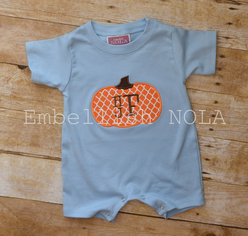 6534de1fa20 Pumpkin Stacked Monogram Applique Romper Pumpkin Romper Fall