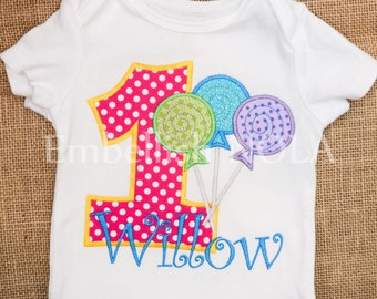 Lollipop Candy Appliqued Birthday Shirt, Candyland Sugar Shop Theme