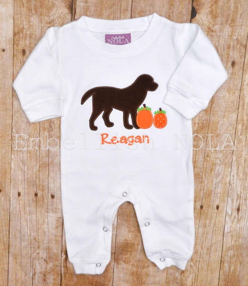 c3210bfb063 Corduroy Brown Dog with Pumpkins Applique Romper Fall