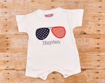 Patriotic, Independence Day, America, 'Merica, Aviator Sunglass Applique, 4th of July, Memorial Day, Knit Romper