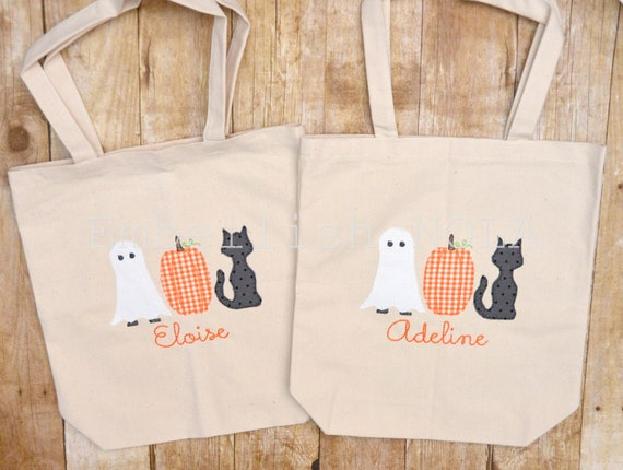 9a7779b110 Halloween Applique Personalized Trick or Treat Bag Canvas
