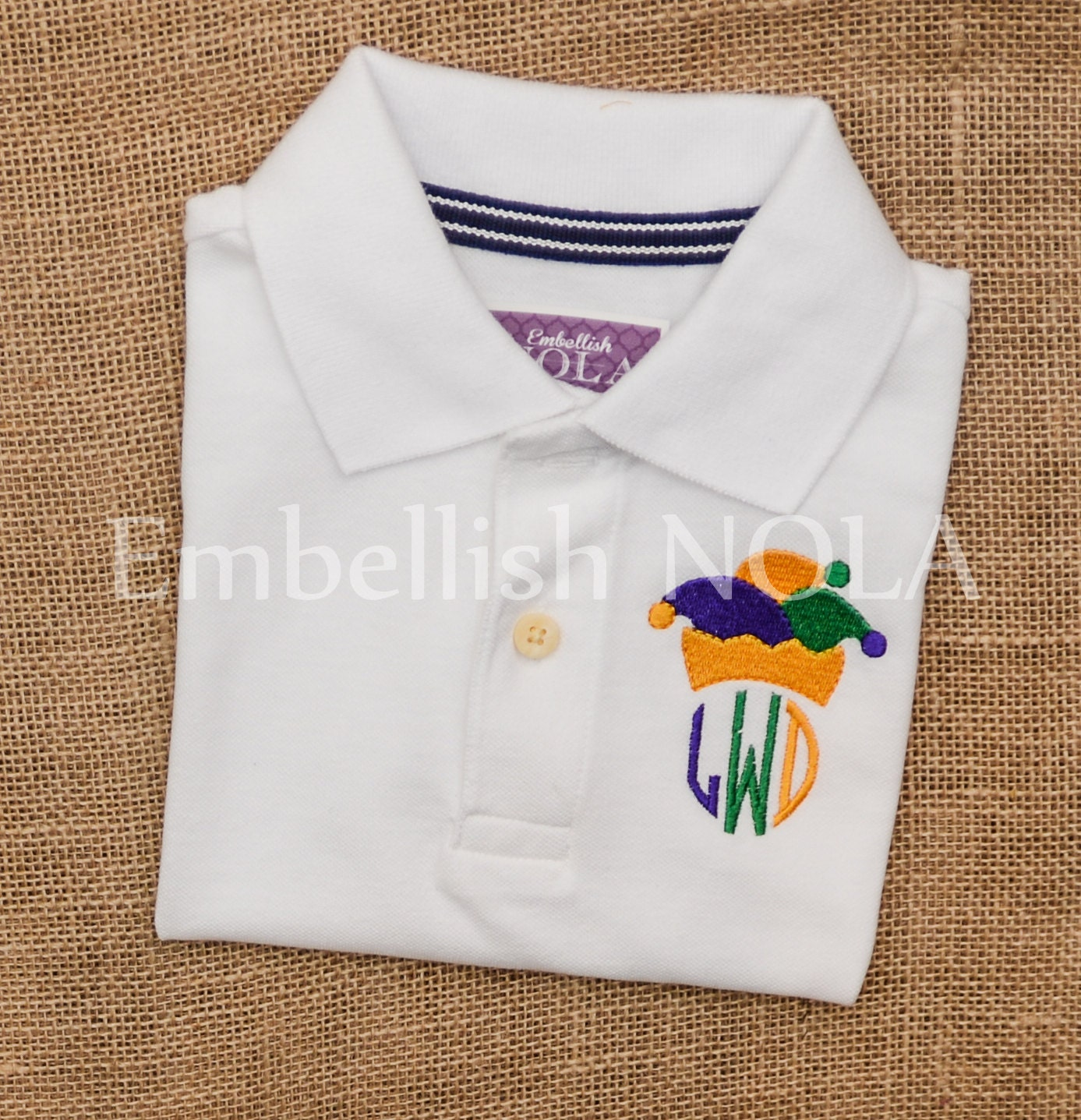 Jester Hat Monogram Embroidered Boys Collared Shirt Mardi Gras Etsy