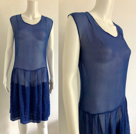 Stunning 1920's Periwinkle Blue Silk Chiffon Dress