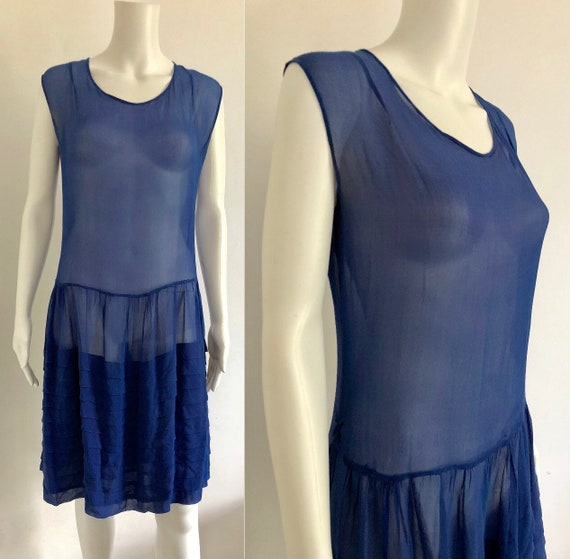 Stunning 1920's Periwinkle Blue Silk Chiffon Dress - image 1