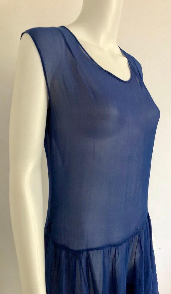 Stunning 1920's Periwinkle Blue Silk Chiffon Dress - image 3