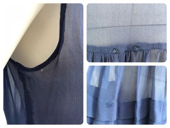 Stunning 1920's Periwinkle Blue Silk Chiffon Dress - image 7