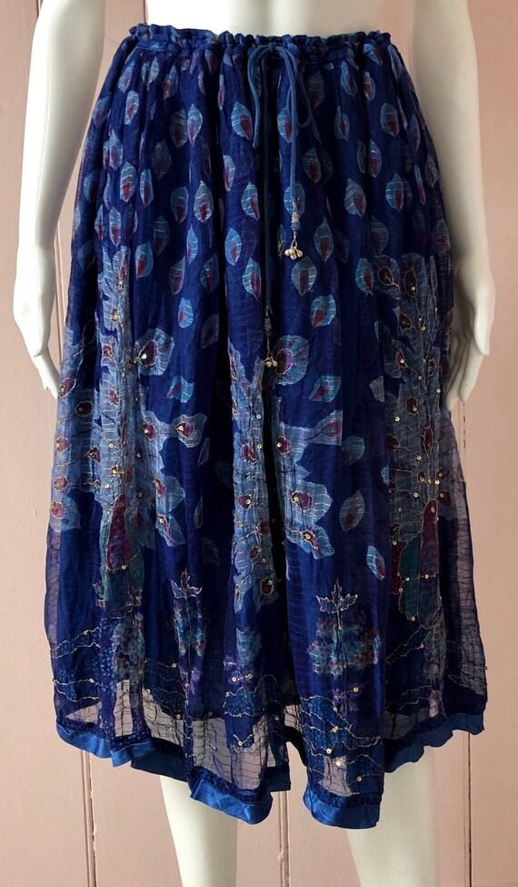 Pretty 1970's Mayur Indian Skirt Peacock Design