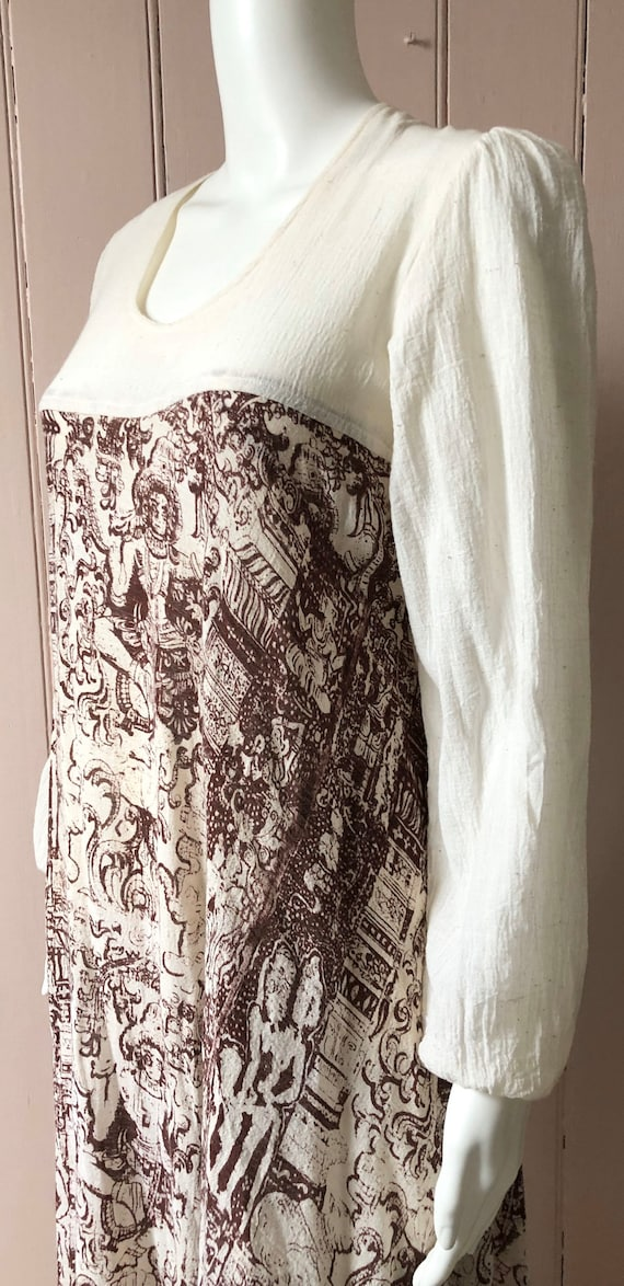 Fantastic 1970's Cheesecloth Dress Indian Print