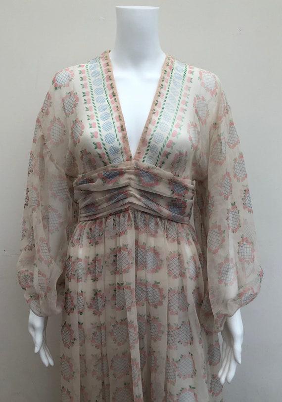 Fantastic 1970's Sheer Jean Varon Dress