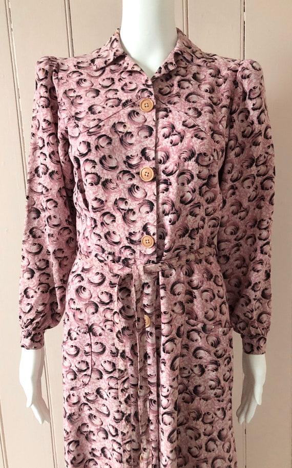 Fantastic 1940's Moygashel Pink Dressing Gown - image 2