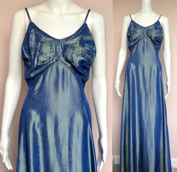 Stunning 1930's Periwinkle Blue Taffetta Dress