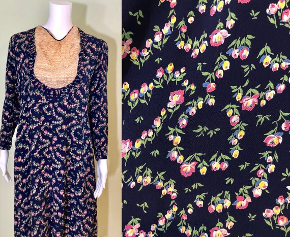 Wonderful 1940's Floral Crepe Dress