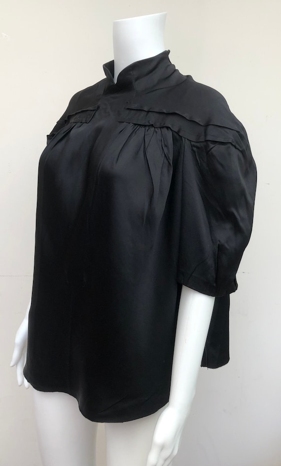 Superb 1930's Black Satin Blouse
