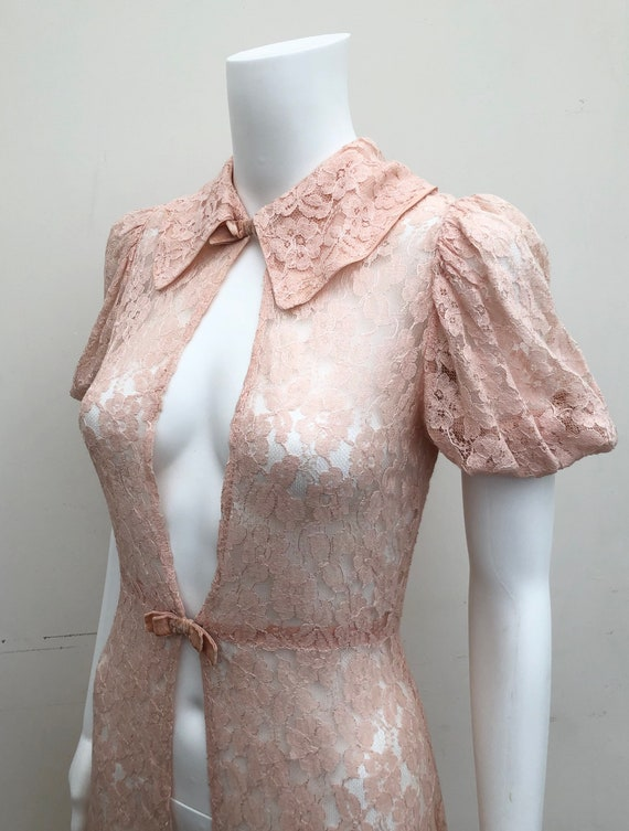Pretty 1930's Pink Lace Over Gown